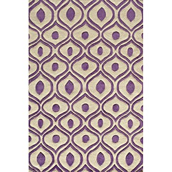 "Modern Waves Purple Hand-Tufted Rug (5' x 7'6"")"