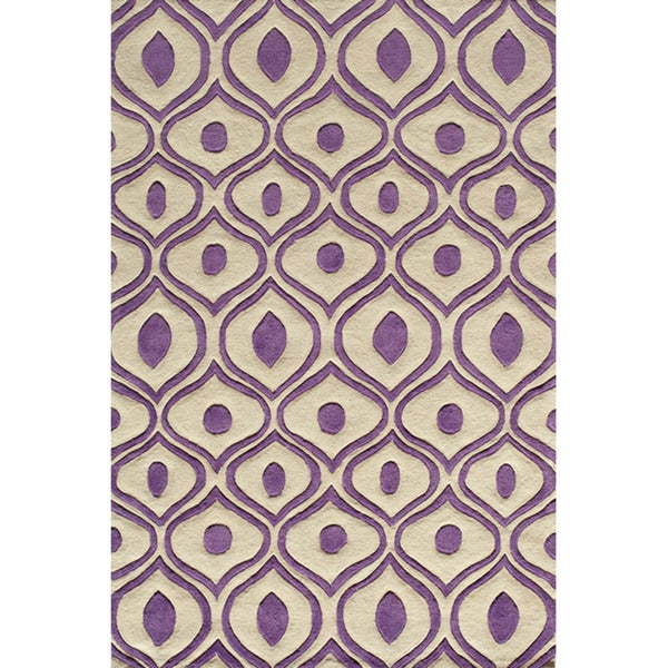 Modern Waves Purple Hand-Tufted Rug (8' x 10')
