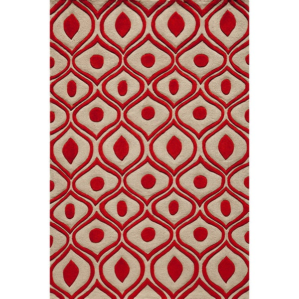 "Modern Waves Red Hand-Tufted Rug (3'6"" x 5'6"")"