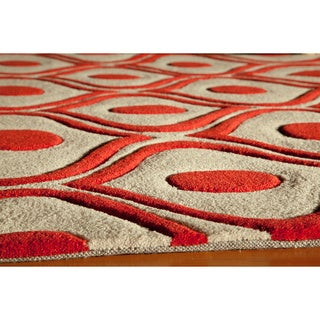 """Modern Waves Red Hand-Tufted Rug (3'6"""" x 5'6"""")"""