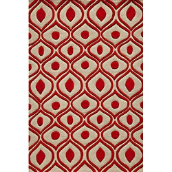 Momeni Bliss Red Waves Hand-Tufted Rug (8' X 10') - 8' x 10'