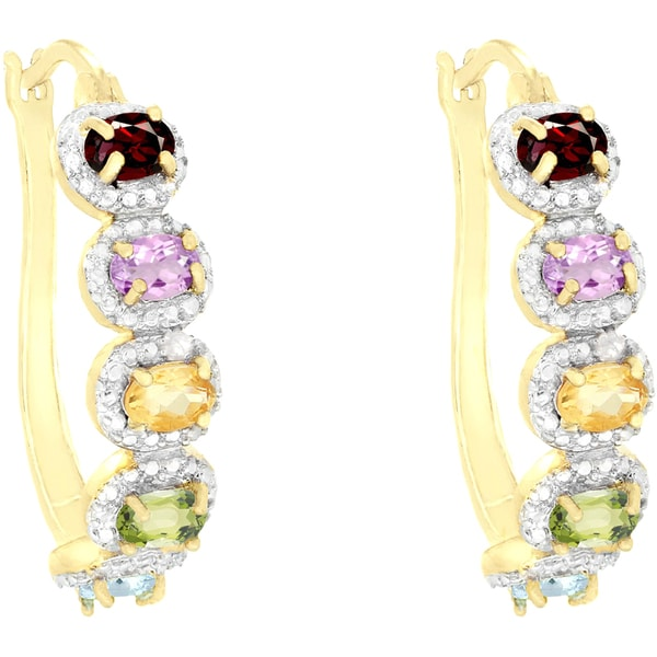 Dolce Giavonna 18k Gold Overlay Gemstone and Diamond Accent Hoop Earrings