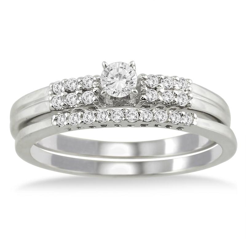 Marquee Jewels  10k White Gold 1/4ct TDW 2-Piece Diamond Ring Set (I-J, I1-I2)