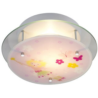 Elk Lighting Little Girl Fairy 2-Light Satin Nickel Semi Flush