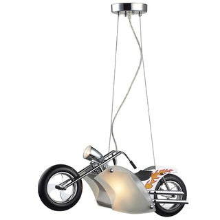 Elk Lighting Wild Ride Motorcycle 3-Light Satin Nickel and Polished Chrome Pendant