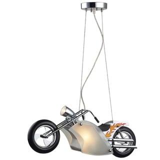 elk lighting wild ride motorcycle 3light satin nickel and polished chrome pendant