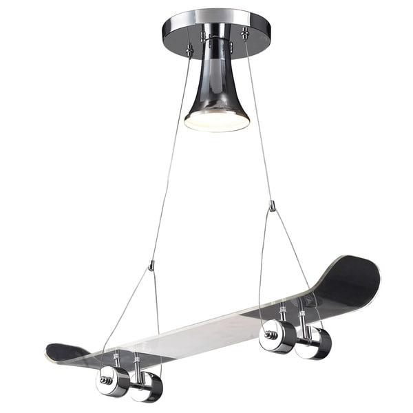 Elk Lighting Skateboard 1-Light Satin Chrome Pendant