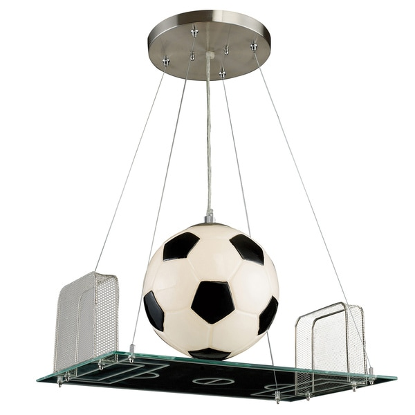 Elk Lighting Goal! Goal! Goal! Soccer Field 1-Light Satin Nickel Pendant