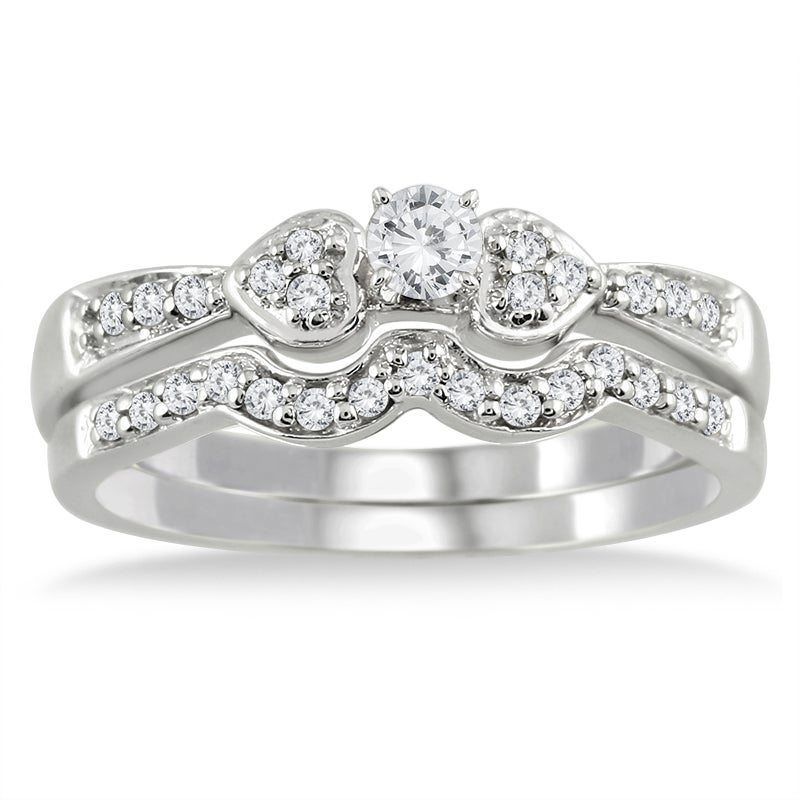 Marquee Jewels 10k White Gold 1/3ct TDW 2-Piece Diamond Ring Set (I-J, I1-I2)