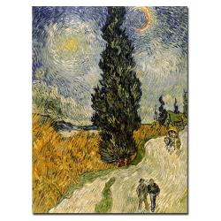 Vincent van Gogh 'Road with Cypresses 1890' Traditional Canvas Art