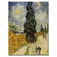 Vincent van Gogh 'Road with Cypresses 1890' Traditional Canvas Art - Multi