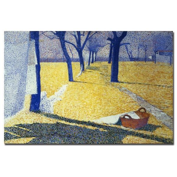 Giuseppe Pellizza da Volpedo 'Washing in the Sun' Canvas Art