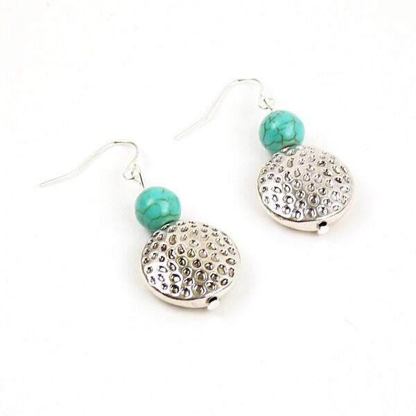 Pretty Little Style Silvertone Turquoise Dangle Earrings