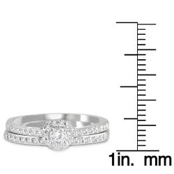 Marquee Jewels  10k White Gold 1/2ct TDW White Diamond Bridal Ring Set (I-J, I1-I2) - Thumbnail 2
