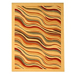 Beige Contemporary Abstract Euro Home Rug (5'3 x 7'3)