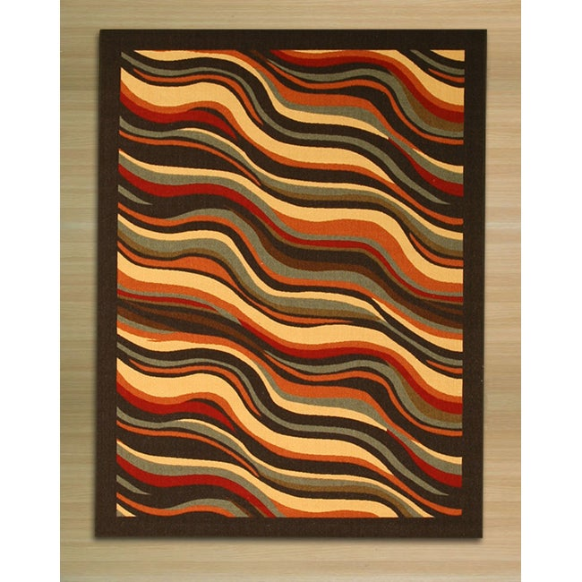 "Black Contemporary Abstract Euro Home Rug (5'3 x 7'3) - 5'3"" x 7'3"""