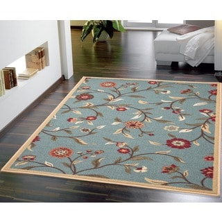 Blue Transitional Floral Euro Home Rug (5'3 x 7'3)