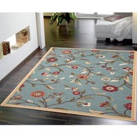 Blue Transitional Floral Euro Home Rug - 5' x 6'6