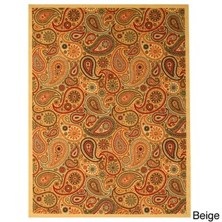 Beige Transitional Floral Oriental Euro Home Rug - 5'3 x 7'3