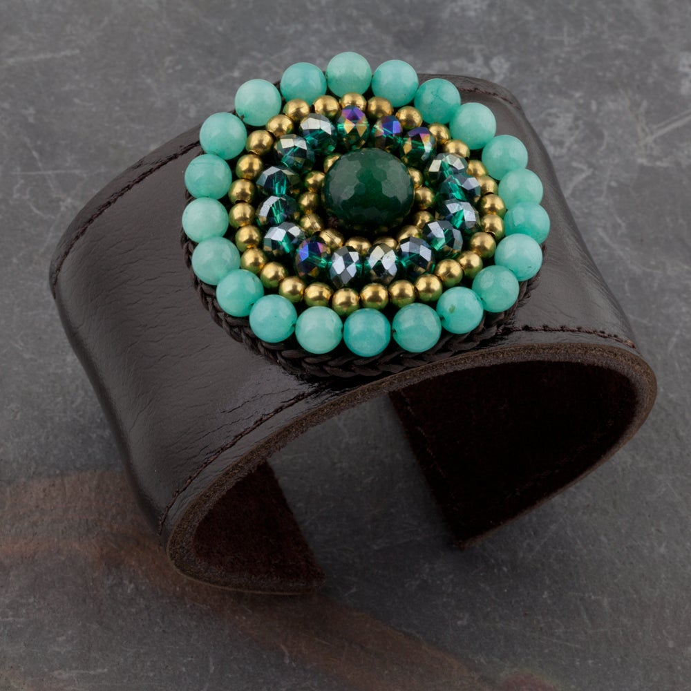 Handmade Green Jade, Crystal Glass and Brass Beads Leather Cuff (Thailand)