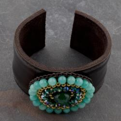 Handmade Green Jade, Crystal Glass and Brass Beads Leather Cuff (Thailand) - Thumbnail 1