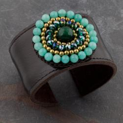 Green Jade, Crystal Glass and Brass Beads Leather Cuff (Thailand)
