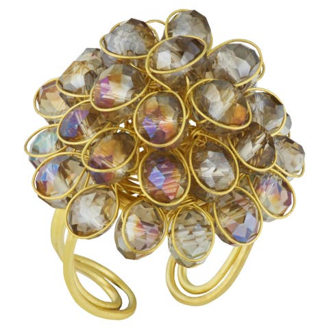 Handmade Crystal Glass Adjustable Size Cluster Brass Ring (Thailand)