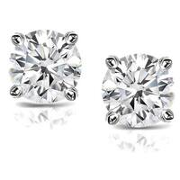 14k Gold 2ct TDW Clarity-Enhanced Diamond Solitaire Stud Earrings