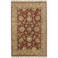 Hand-knotted Moreton Burgundy New Zealand Wool Area Rug (5' x 8')