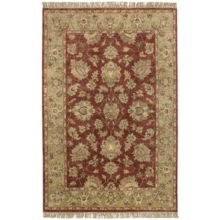 Hand-knotted Moreton Burgundy New Zealand Wool Area Rug - 5' x 8'/Surplus