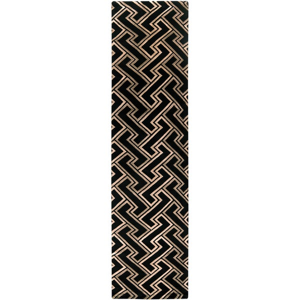 Hand-knotted Southerndowns Black Basketweave Wool Rug (2'6 x 10')