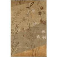 Hand-knotted Toowoomba Tan New Zealand Wool Area Rug - 8' X 11'