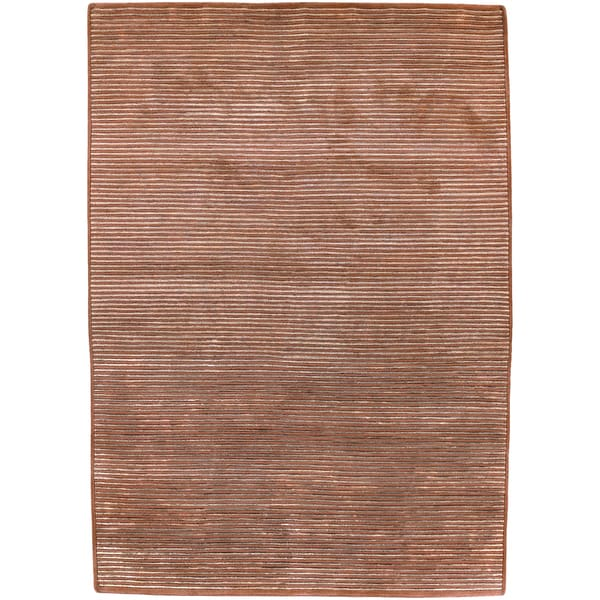 Hand knotted Acorn Brick Semi worsted New Zealand Wool Rug (9' x 13')