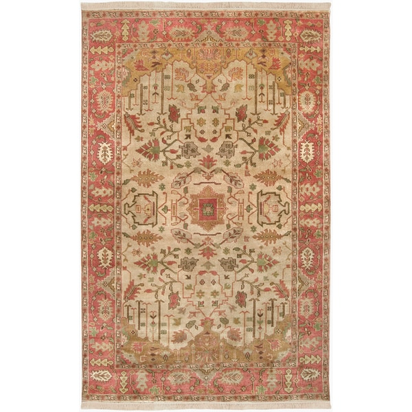 Hand-knotted Amen Gold New Zealand Wool Rug (3'9 x 5'9)