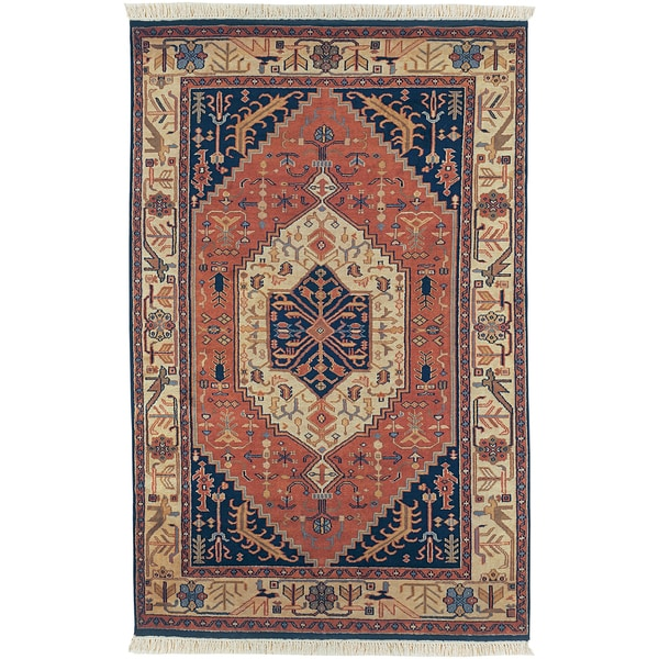 Hand-knotted Hubbard Navy Blue New Zealand Wool Rug (3'9 x 5'9)