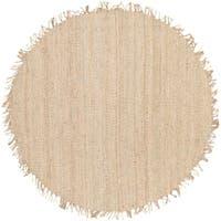 Hand-woven Kanabec Bleach Natural Fiber Jute Area Rug - 8' x 8'