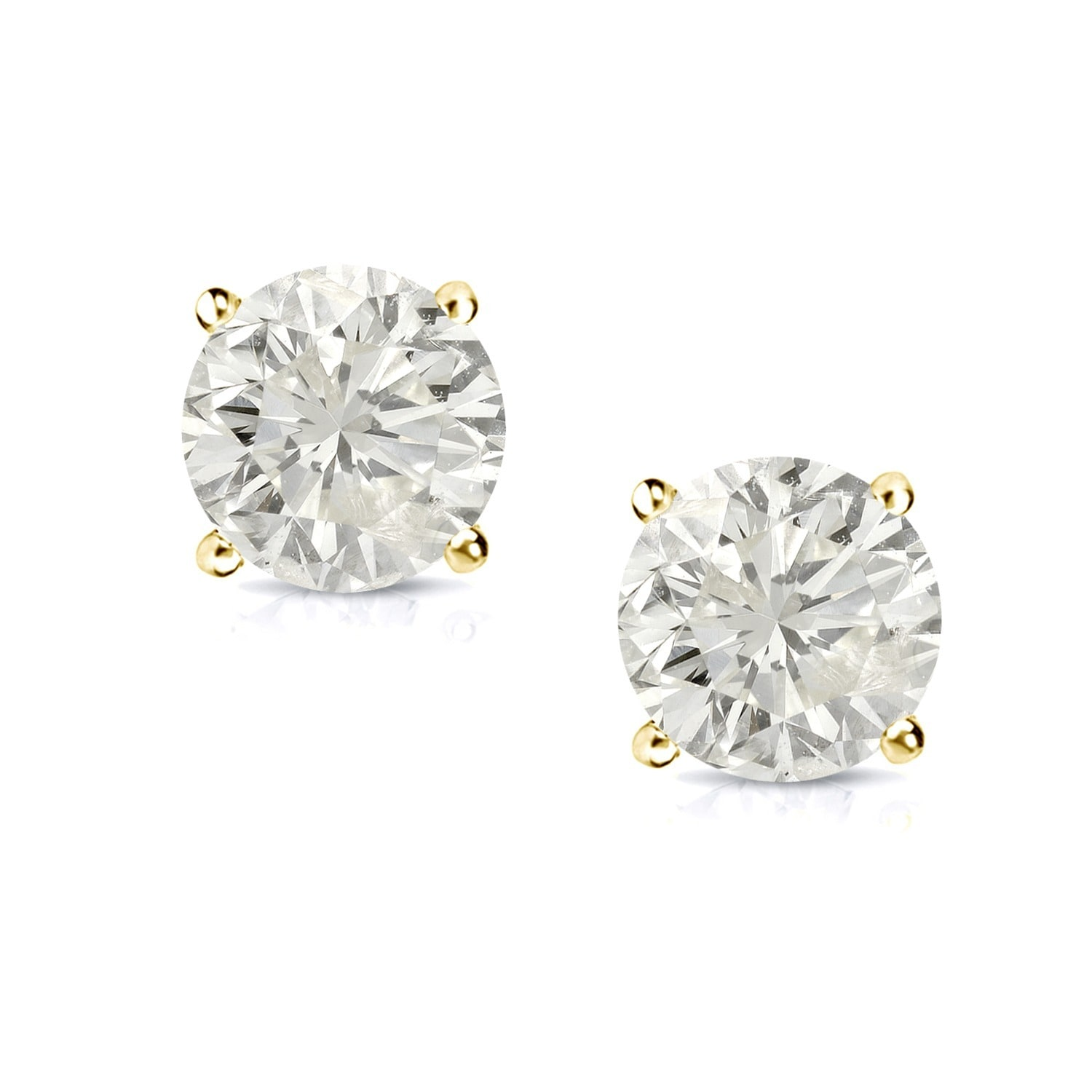 18k Gold Round 1 2ct Tw Clarity Enhanced Diamond Stud Earrings