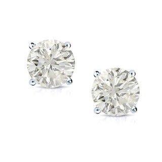 18k Gold Round 1/2ct TW Clarity Enhanced Diamond Stud Earrings