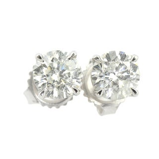 Platinum 3/4ct TW Round Clarity Enhanced Diamond Stud Earrings
