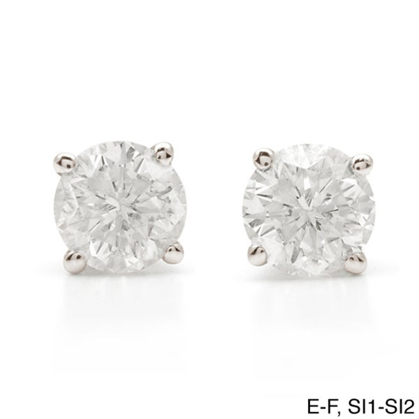 Auriya Platinum 1 1/4ct TDW Clarity-enhanced Diamond Stud Earrings