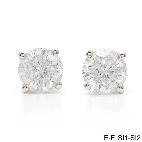 Auriya Platinum 1 1/4ct TDW Clarity-enhanced Diamond Stud Earrings