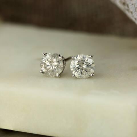 Auriya 1ctw Round Clarity-enhanced Diamond Stud Earrings 18k Gold