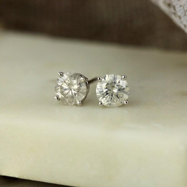 Auriya 1ctw Round Clarity Enhanced Diamond Stud Earrings 18K Gold