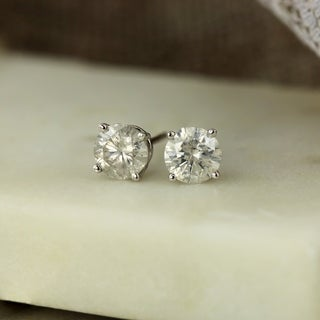 Auriya 18k Gold 1ct TDW Clarity-Enhanced Diamond Solitaire Stud Earrings