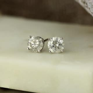 Auriya 18k Gold 1ct Tdw Clarity Enhanced Diamond Solitaire Stud Earrings