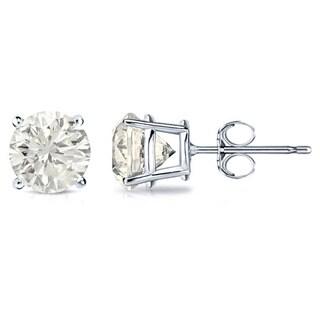 18k Gold 3/4ct TW Round Clarity Enhanced Diamond Stud Earrings