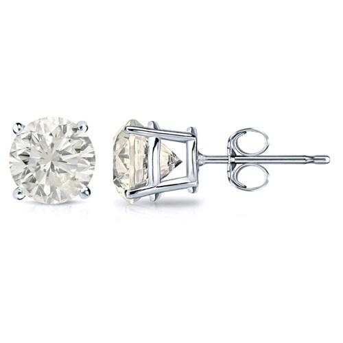 18k Gold 1 4ct Tdw Clarity Enhanced Diamond Solitaire Stud Earrings