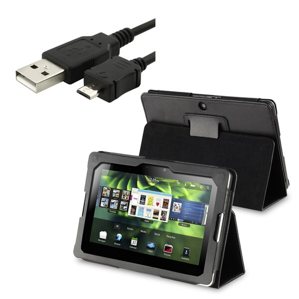 INSTEN Leather Phone Case Cover/ USB Data Charging Cable for Blackberry Playbook