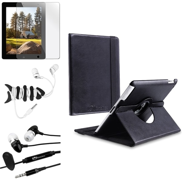 BasAcc Black Leather Case/ Screen Protector for Apple® iPad 2/ 3