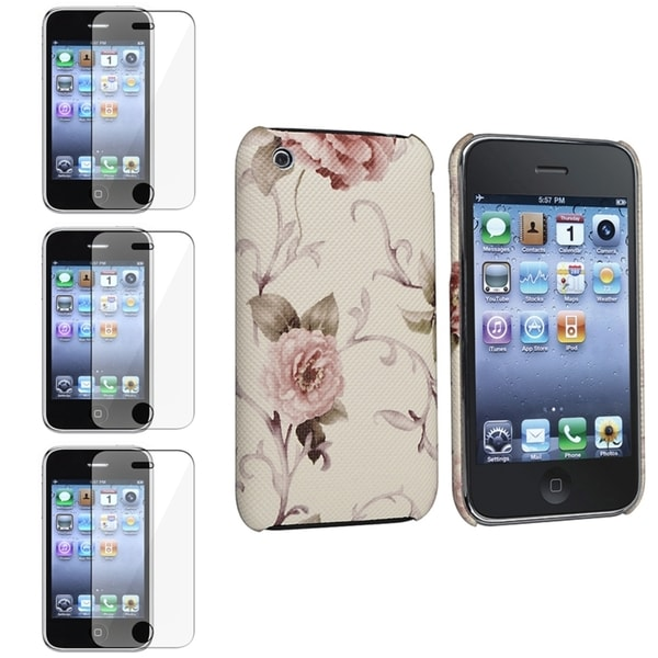 BasAcc White/ Pink Case/ Screen Protector for Apple® iPhone 3G/ 3GS